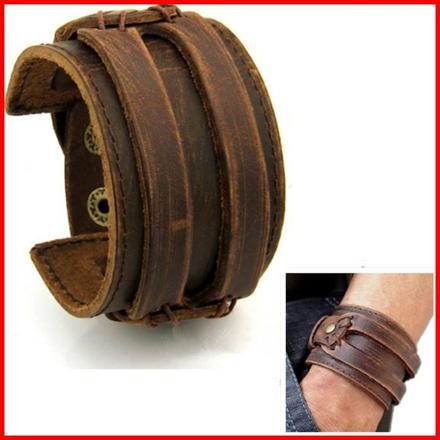 bracelet large cuir homme