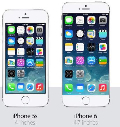 comparaison iphone 5s et 6