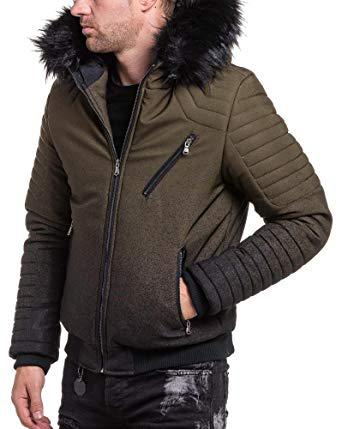 veste a capuche fourrure homme